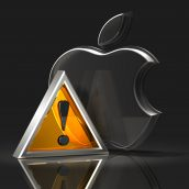 Apple Logo and Attention Symbol