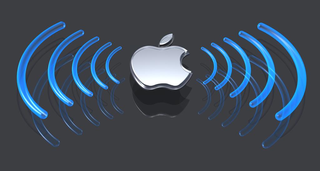 glass and metal apple logo