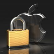 Apple Logo and Brass Padlock