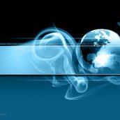 Blue Smoke Background With Globe