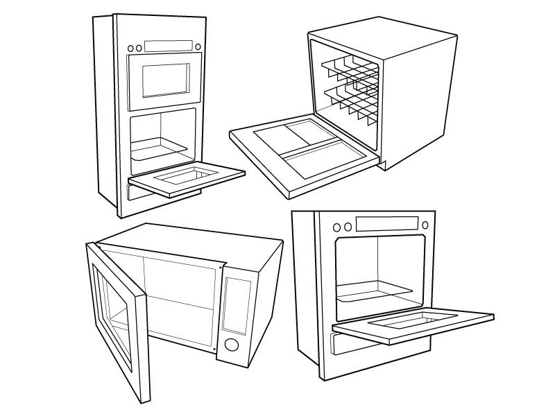 Kitchen Appliance Drawings ~ Vector kitchen appliance drawings norebbo