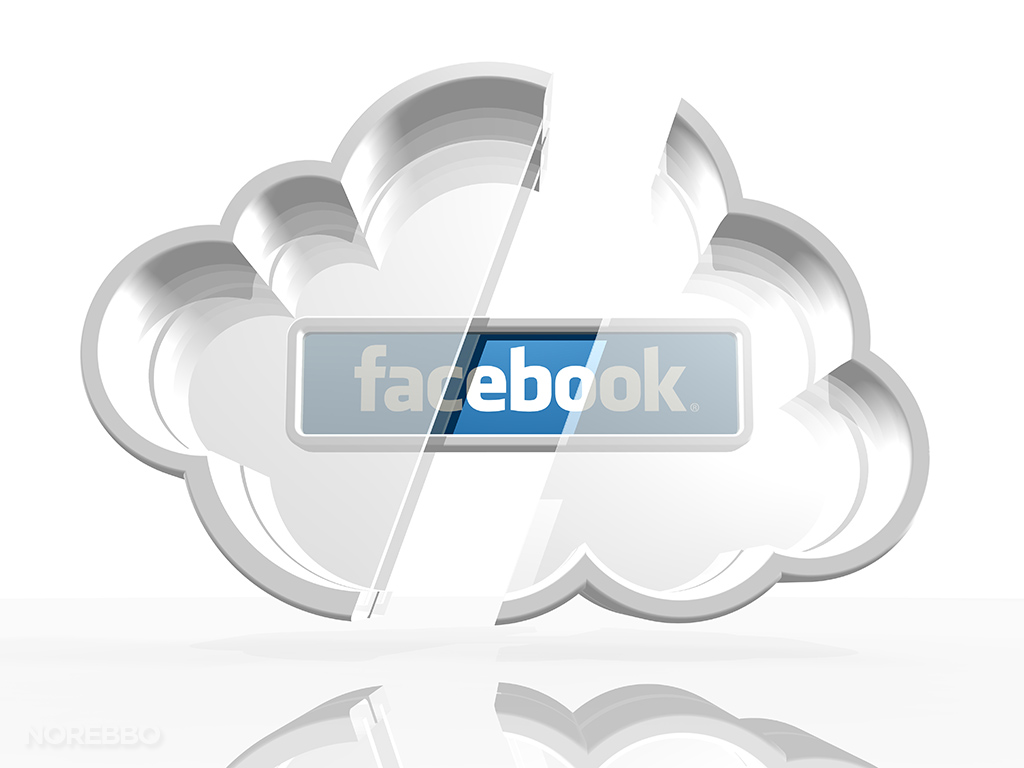 3d facebook cloud logo