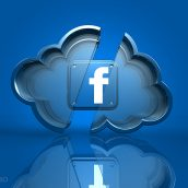 Blue Facebook App Icon Inside a Cloud