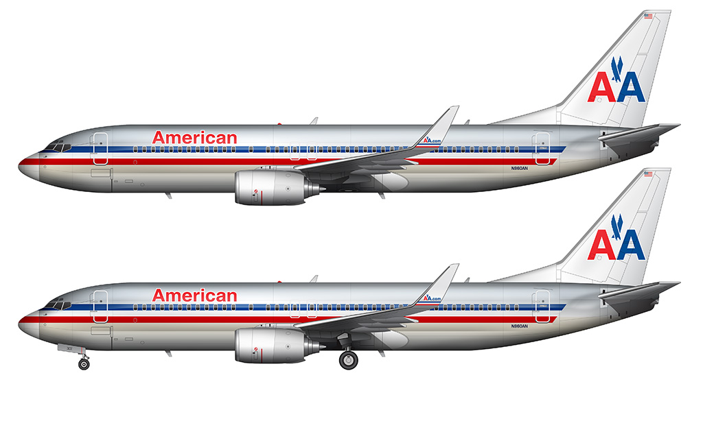 AA 737-800 drawing white background