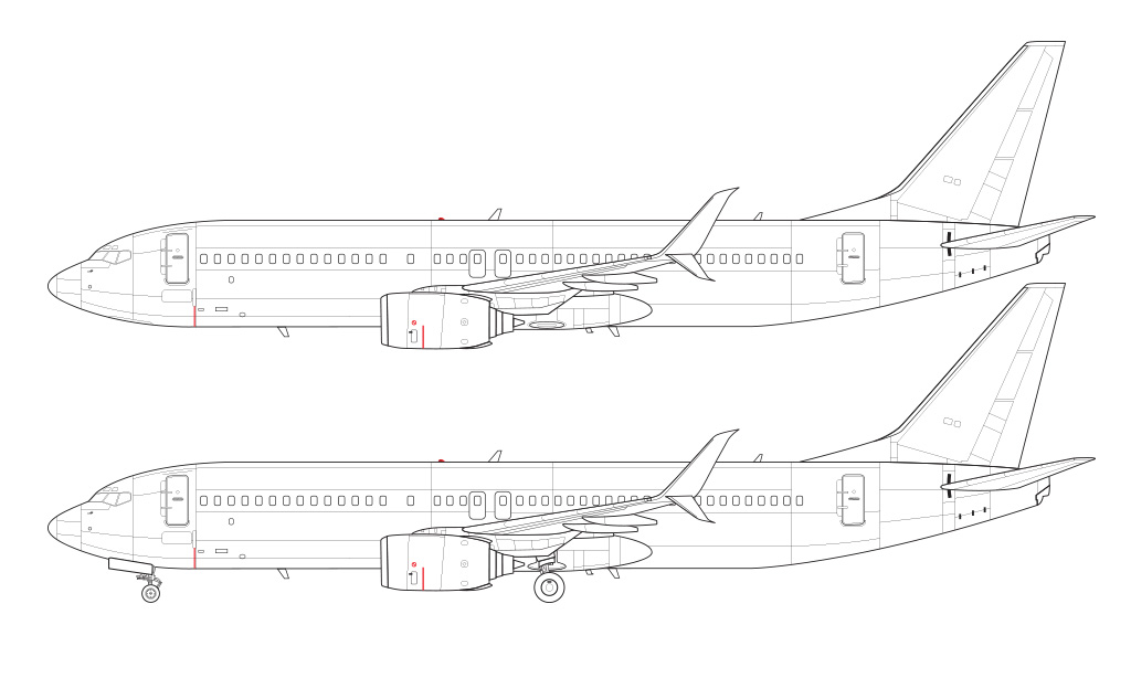 737-800 with split scimitar winglets blueprint