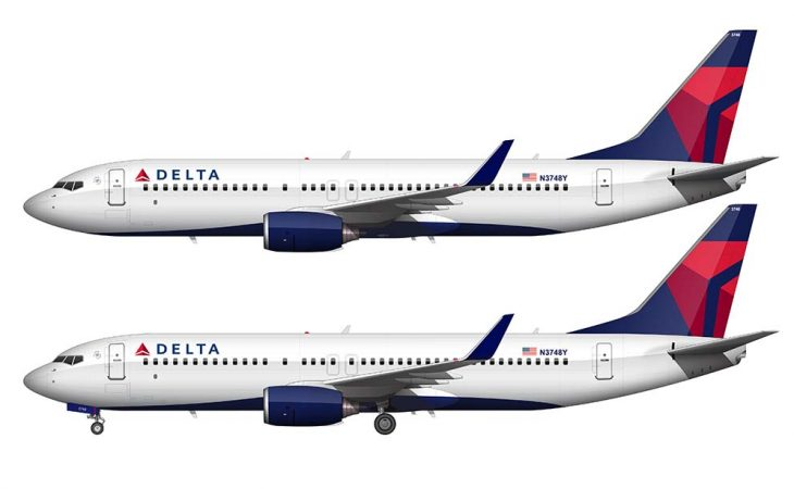 Delta 737-800 side view white background