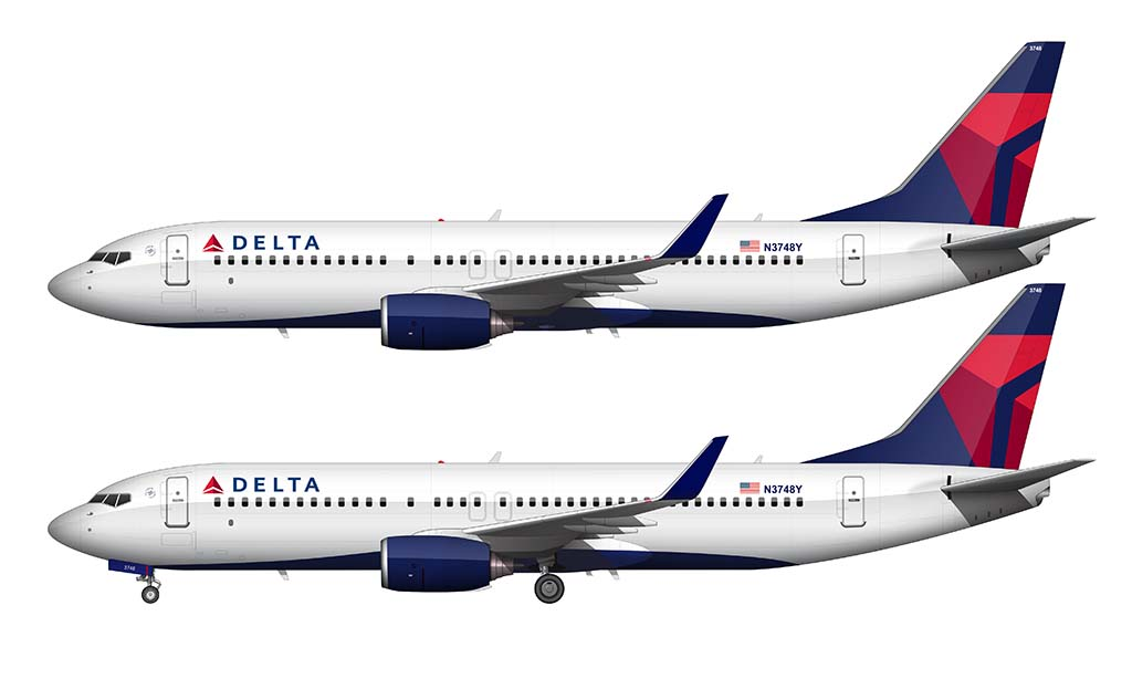 Delta 737-800 side view white background