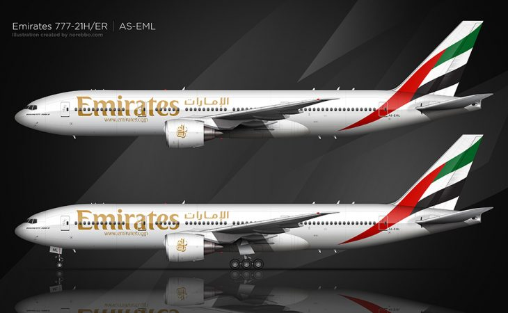 Emirates Boeing 777-200 side view