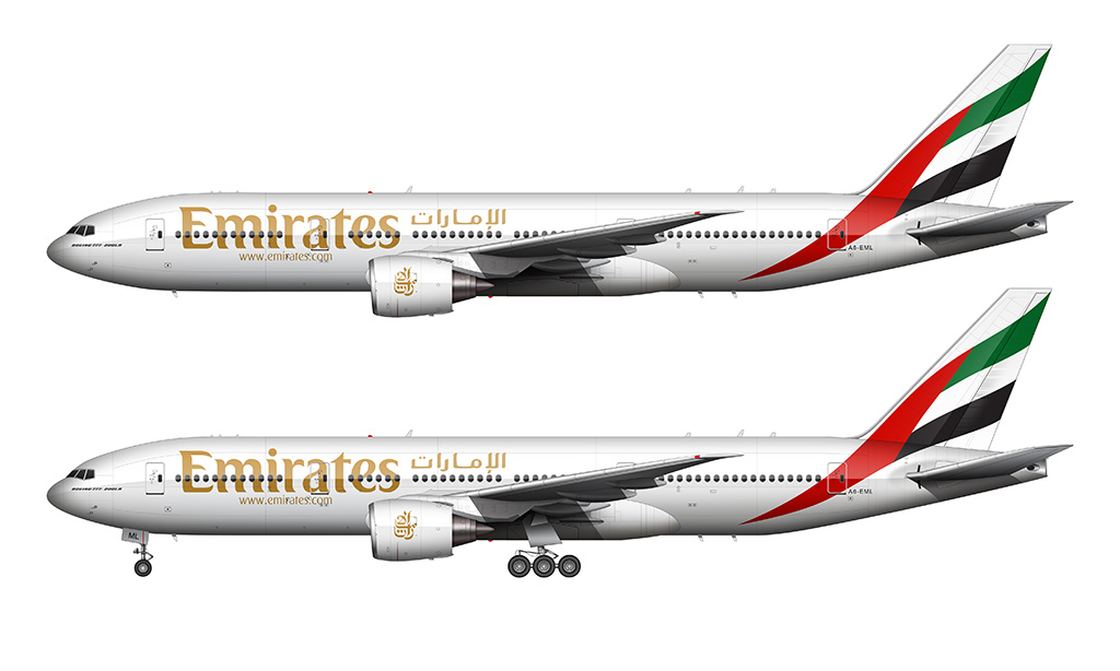 Emirates Boeing 777-200 white background