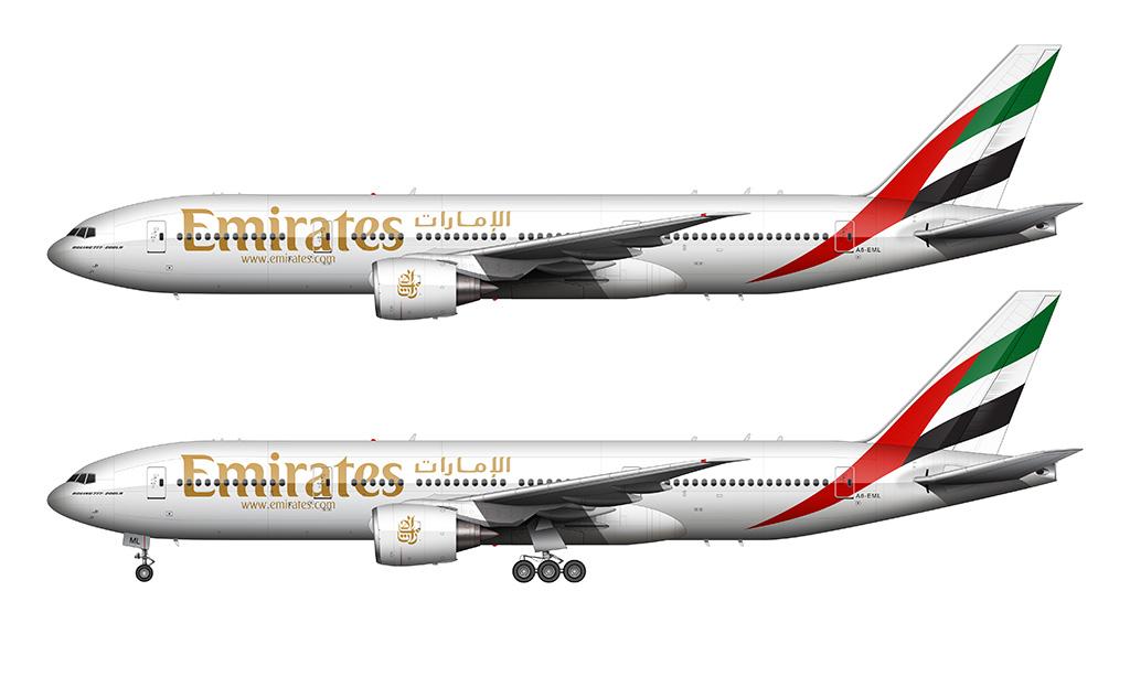 Emirates Boeing 777-200 white background