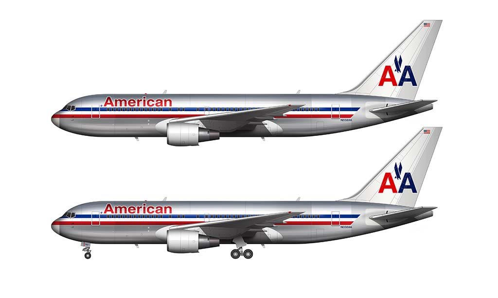 American Airlines bare metal livery Boeing 767-200