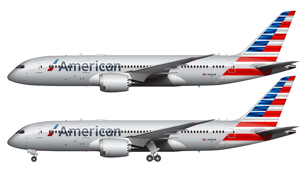 American Airlines livery on the 787-8
