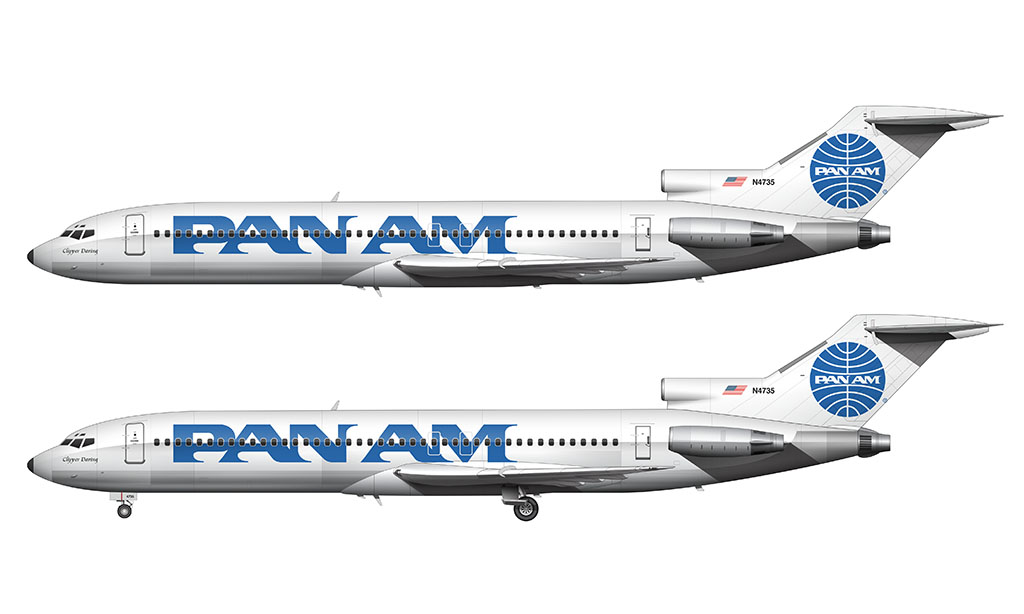 Pan Am billboard livery on the 727