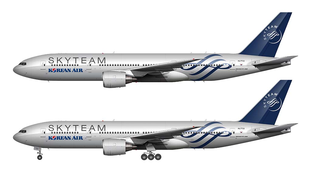 SKYTEAM Livery Korean Air Boeing 777-200ER Illustration
