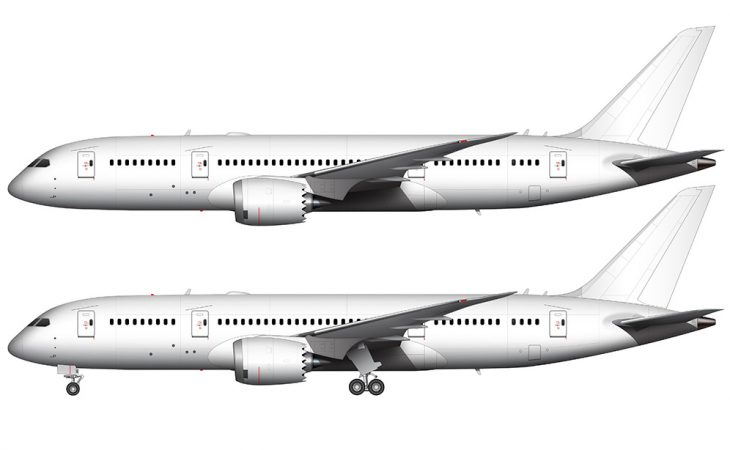 boeing 787-8 white side view