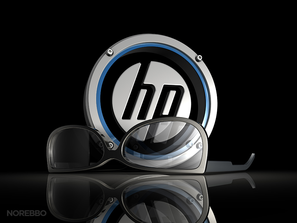 sunglasses and metallic HP logo