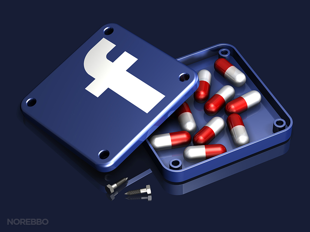 facebook addiction illustration