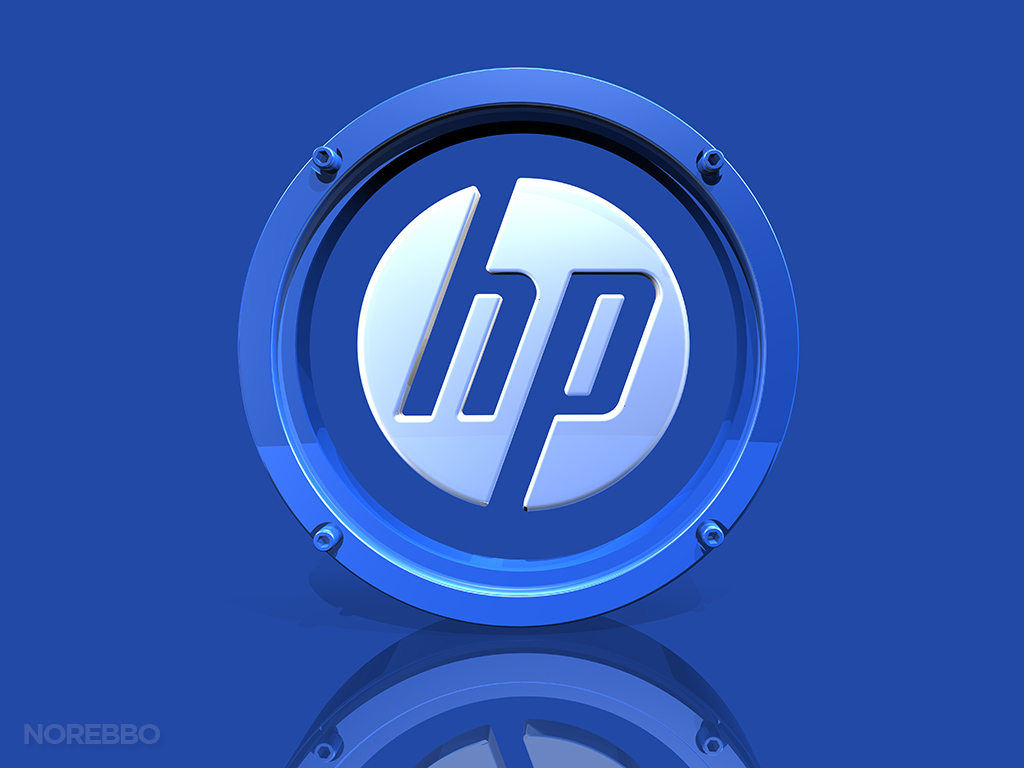 metal and frosted glass hp logo