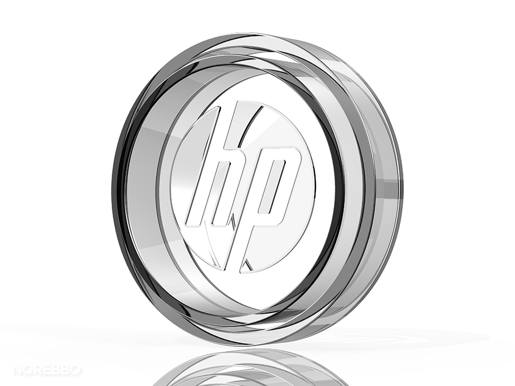 circular glass HP logo