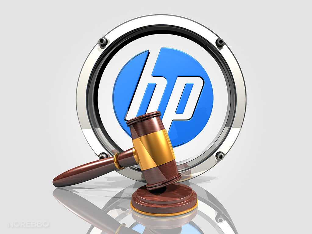 HP logo and judges gavel