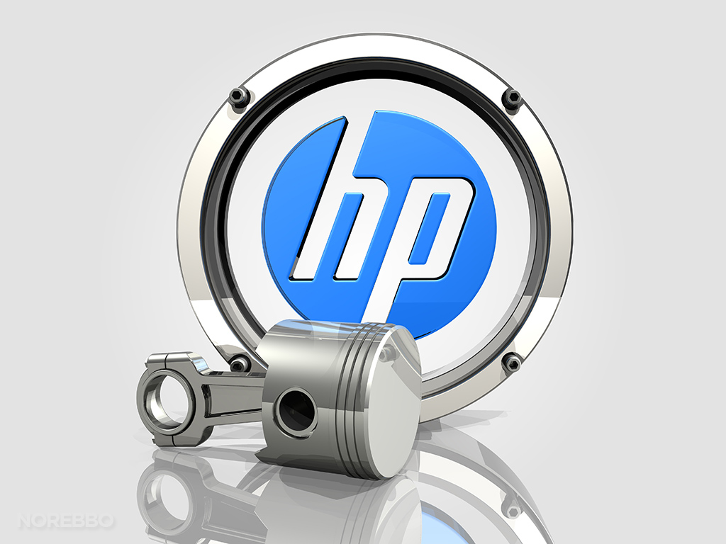 HP logo and engine piston