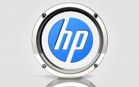 chrome and glass HP logo