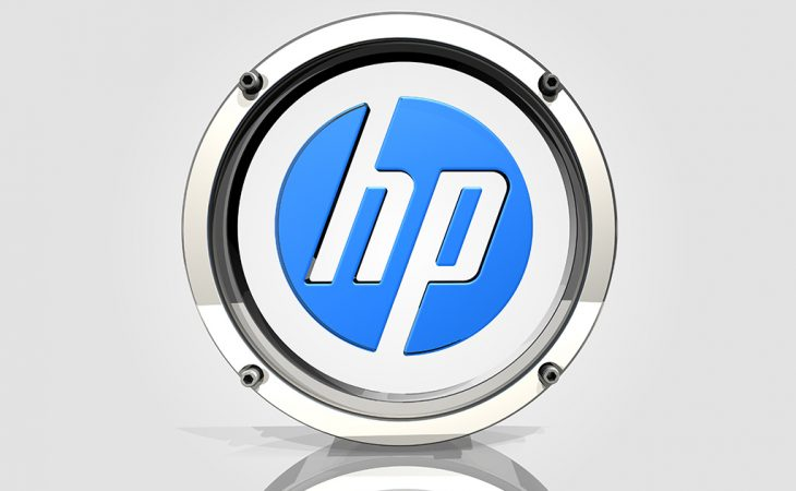 chrome and glass HP logo