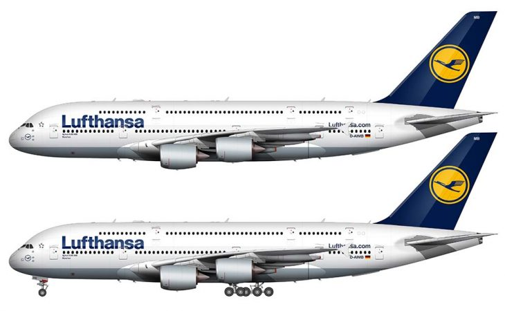 Airbus A380 in the Lufthansa livery