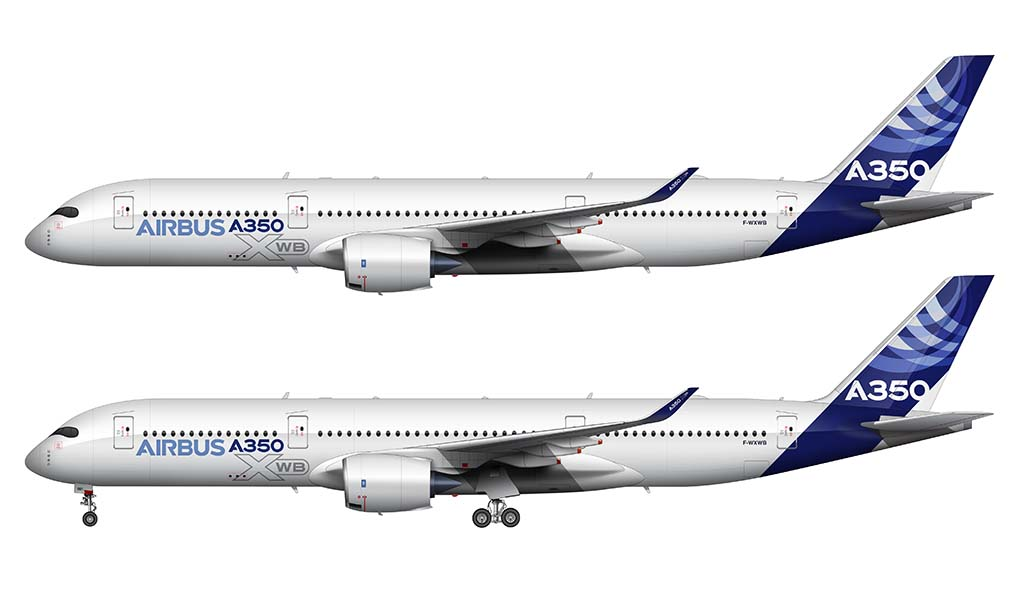 Airbus A350-900 side view rendering