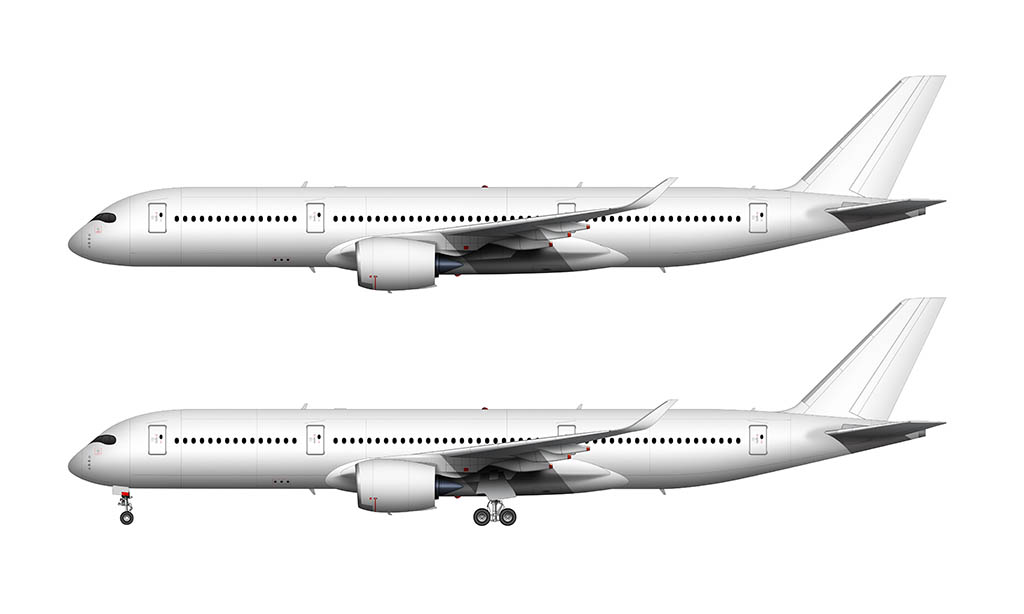 All White Airbus A350-900 blank template