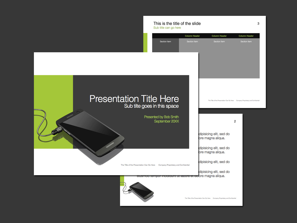 green and gray PowerPoint template