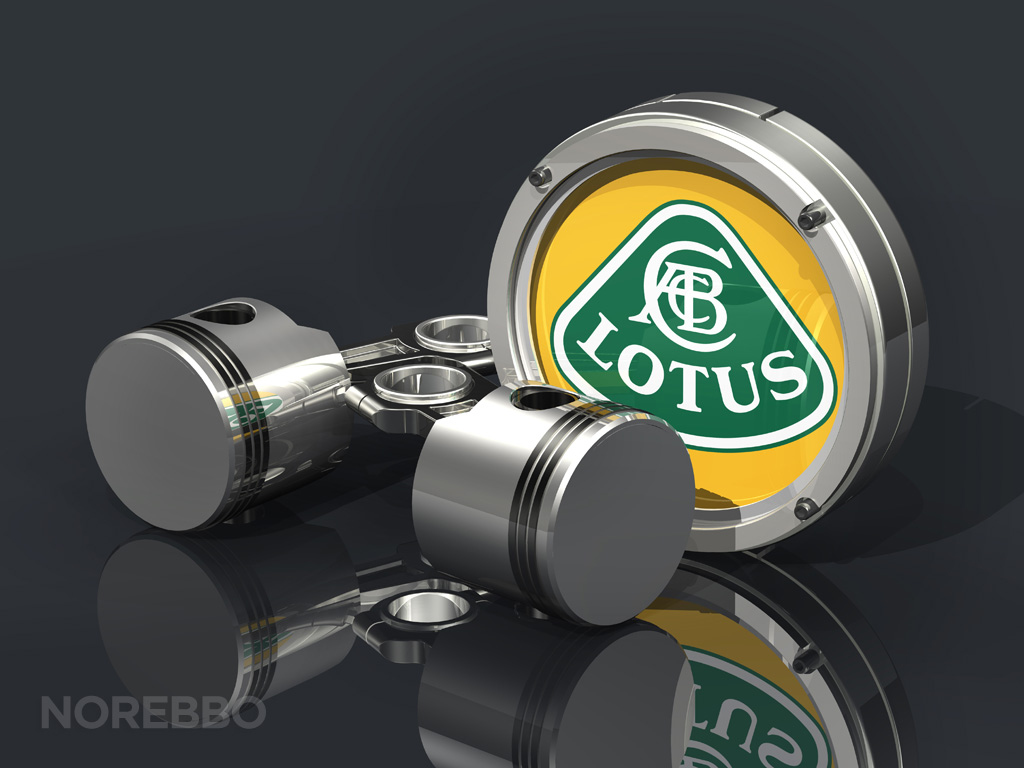 two pistons and lotus logo