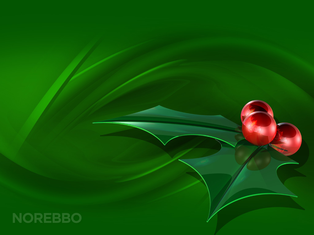 Green holly leaves and red berries