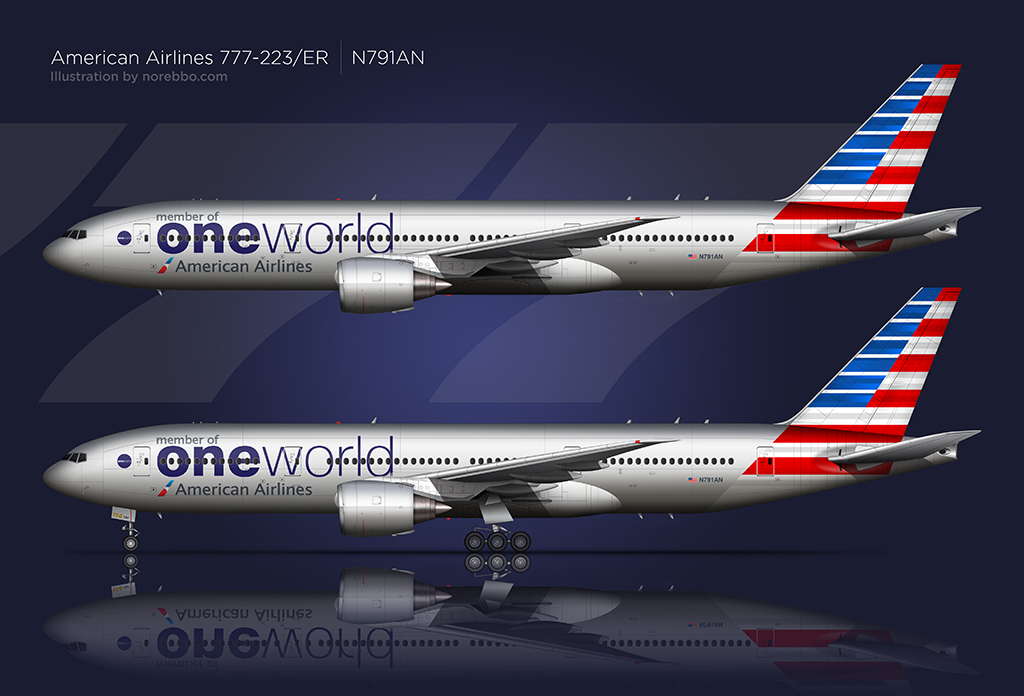 AA 777-200 in the One World livery