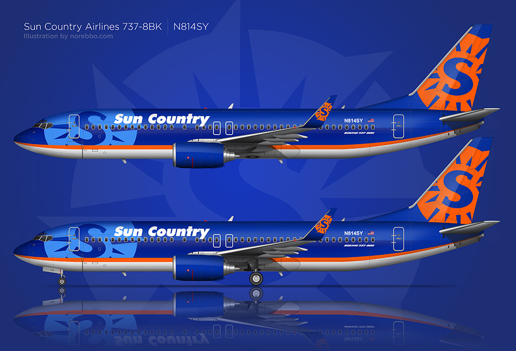 Highly detailed side view illustration of a Sun Country 737-800