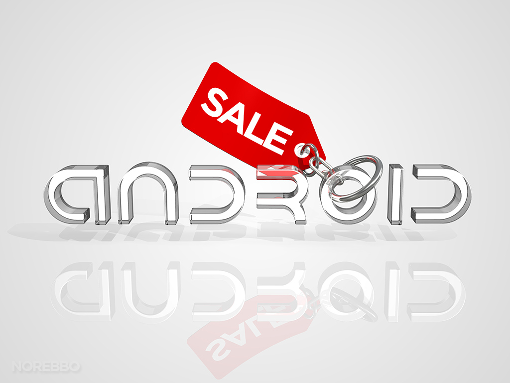 Android logo with a red SALE tag attached to it