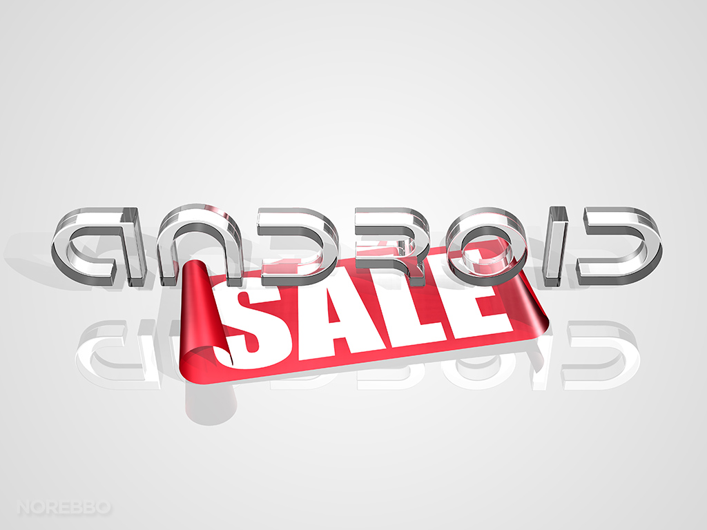 Android logo sitting on large red SALE tag