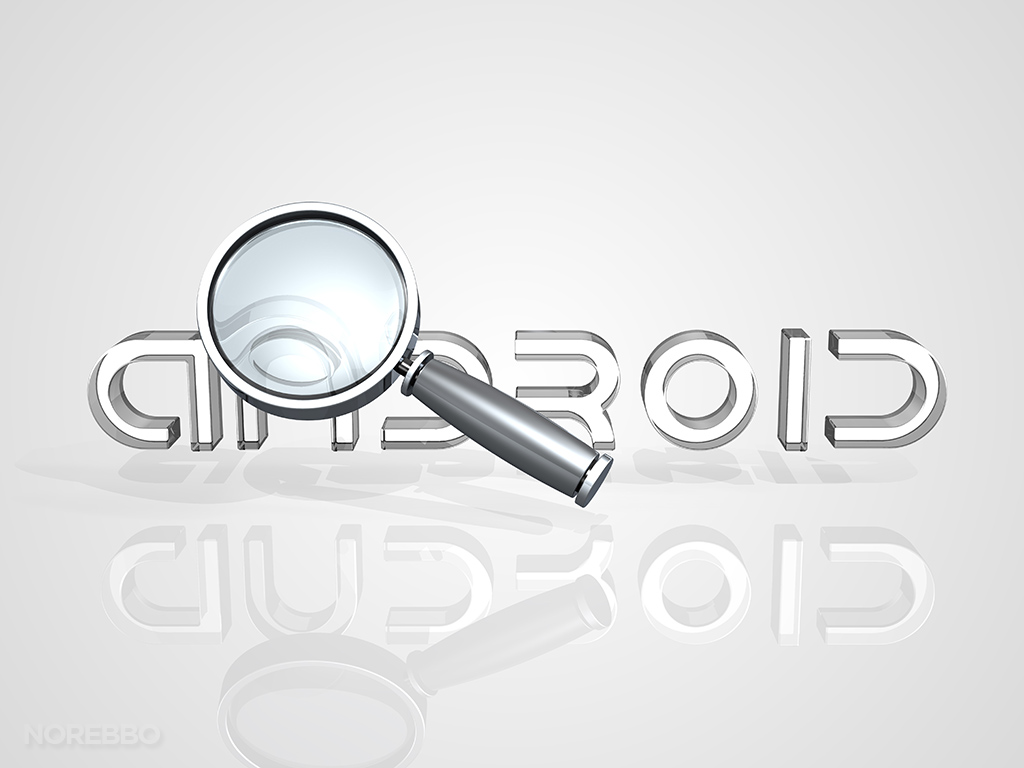 Android logo with a large magnifying glass