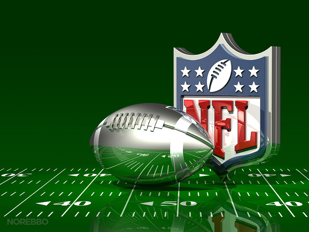 3d nfl logo over a green football field