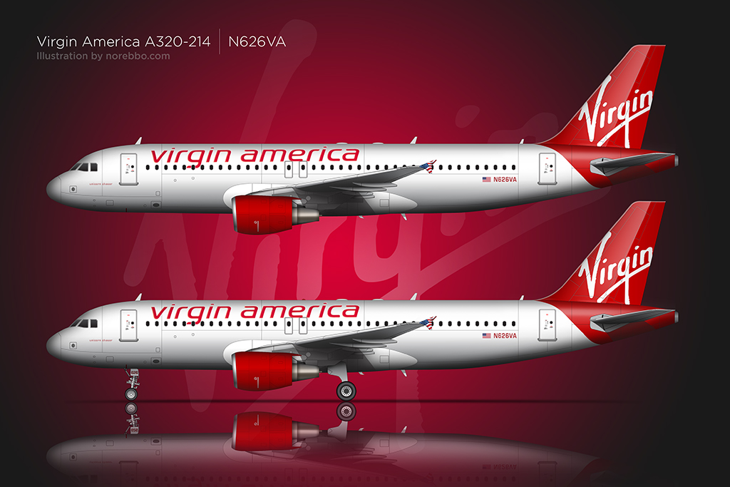 Two Virgin America A320's over a watermarked background with and without the landing gear deployed