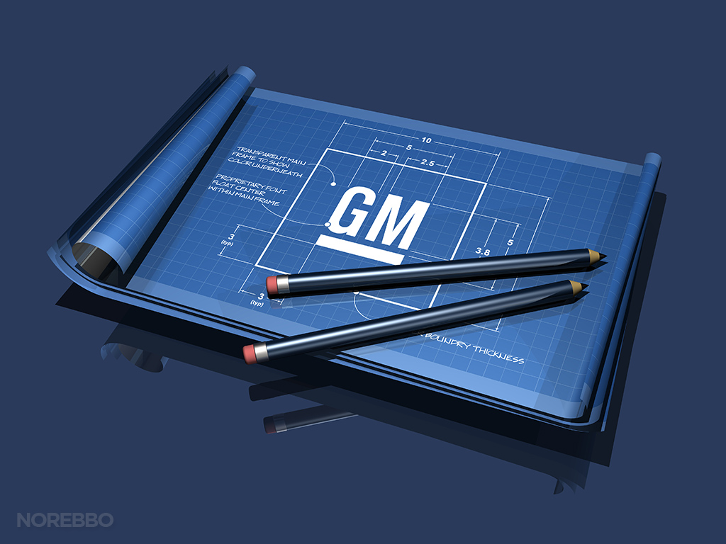 gm logo on blueprints