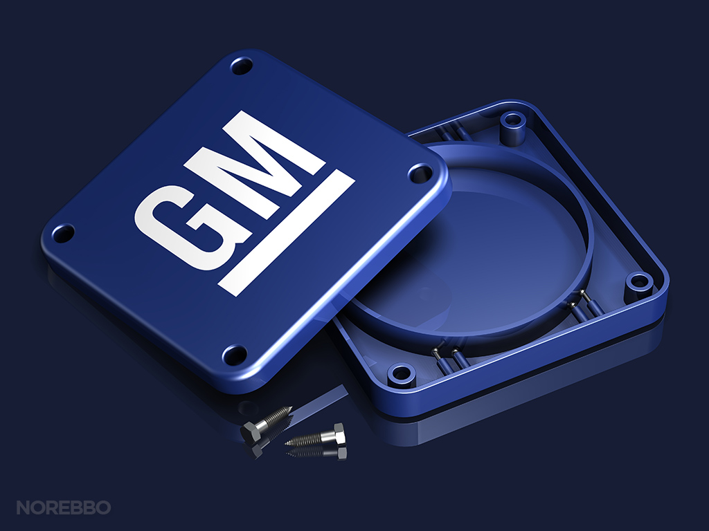 empty blue container with GM logo