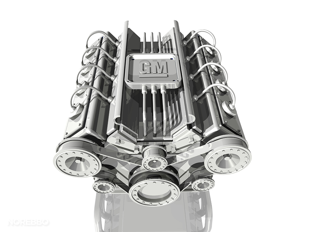 white v8 engine with gm logo