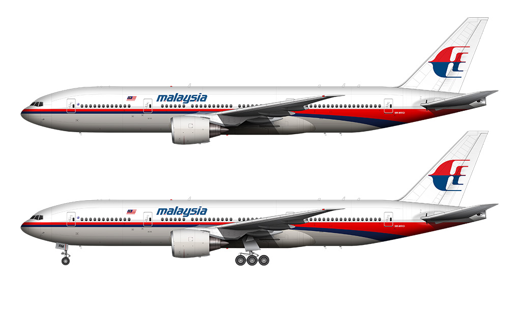 Malaysia Airlines 777-200 white background