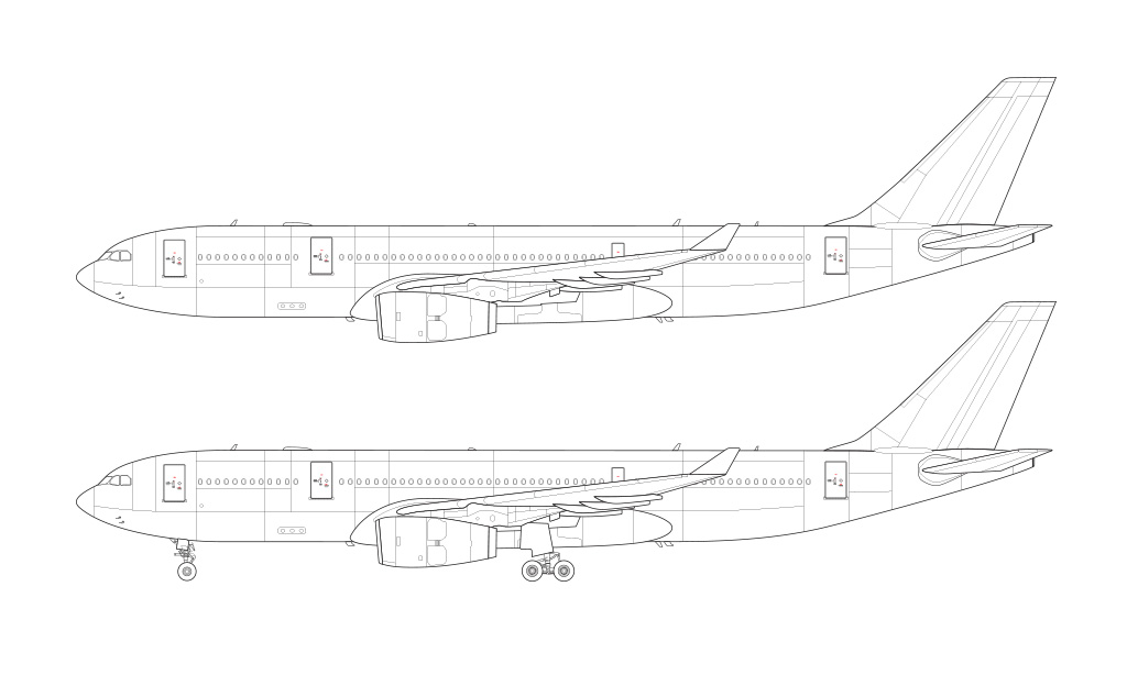 a330 line drawing rolls royce engines