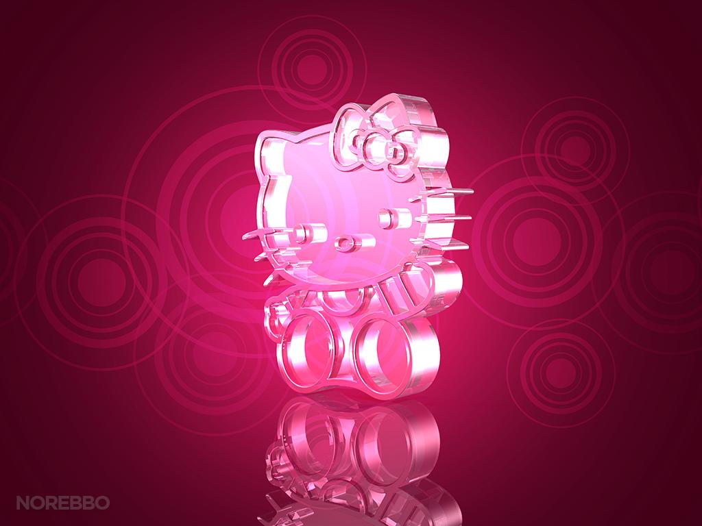 Metal and glass hello kitty 3d renderings norebbo glowing hello kitty toneelgroepblik Gallery