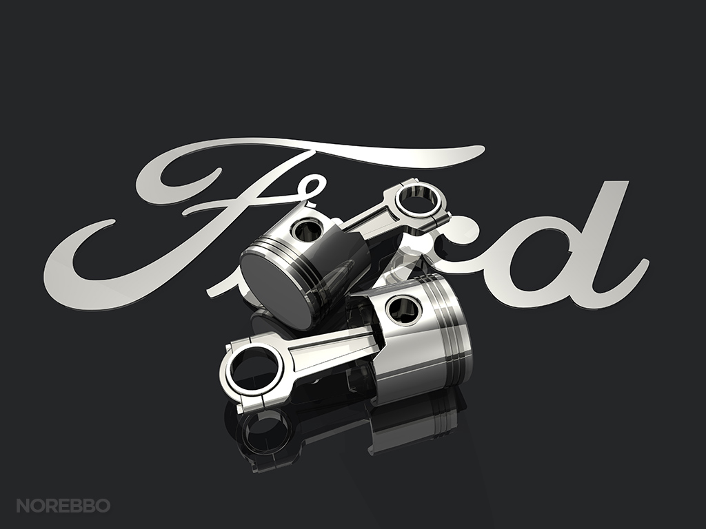 ford logo with pistons