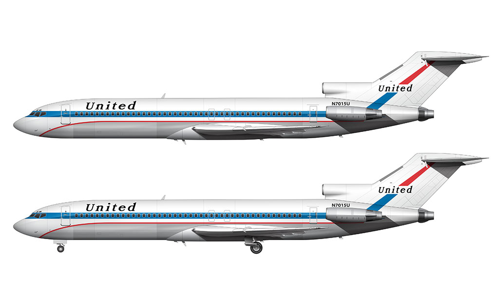 United Airlines Boeing 727-200 Illustration