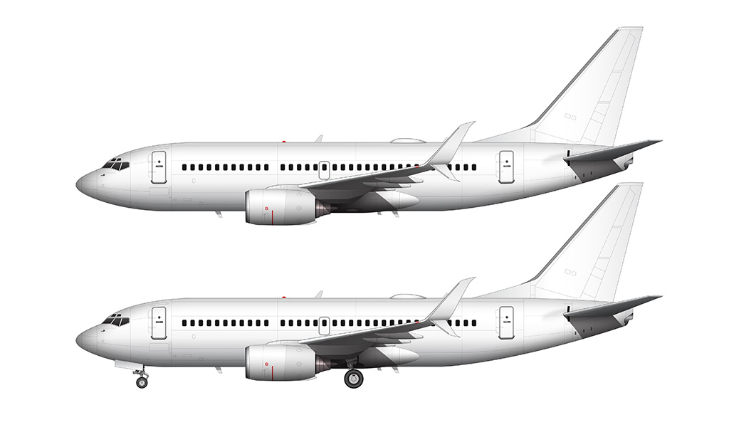737-700 with split scimitar winglets side view all white