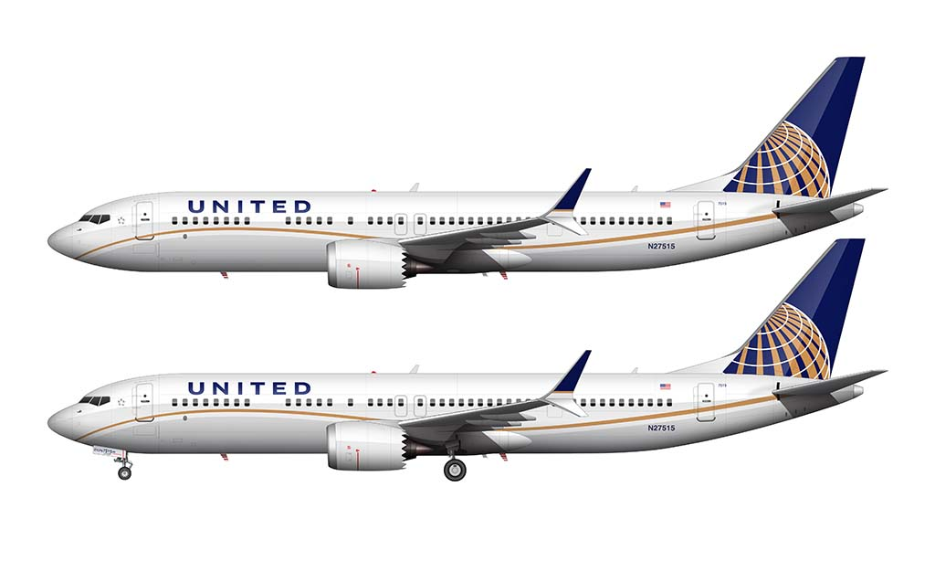 United Airlines Boeing 737-9 MAX old livery